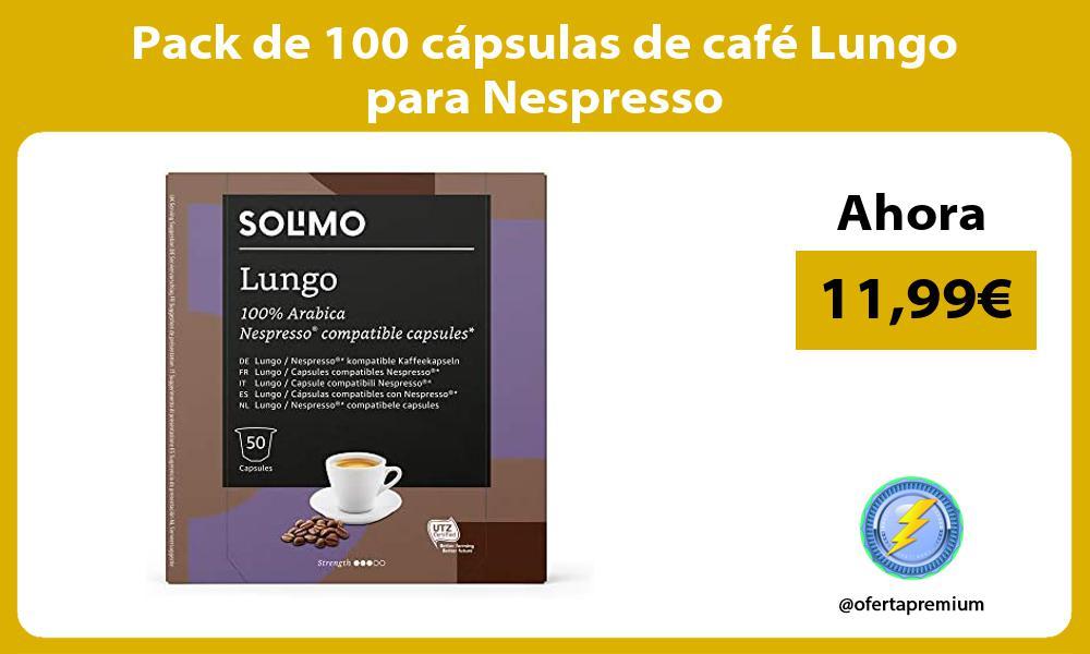 Pack de 100 cápsulas de café Lungo para Nespresso