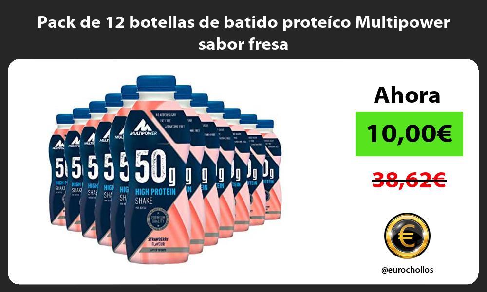 Pack de 12 botellas de batido proteíco Multipower sabor fresa