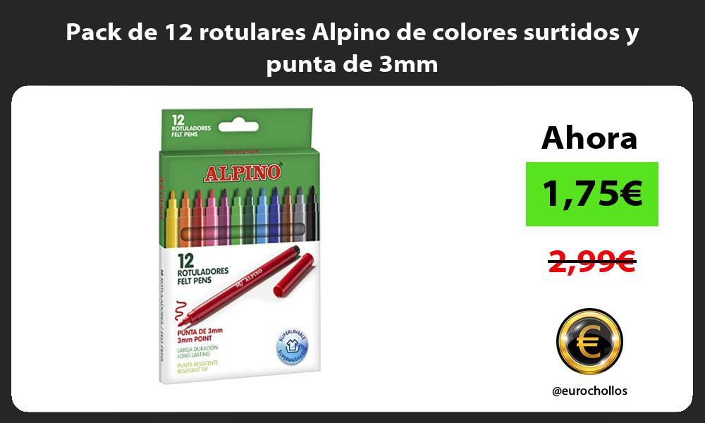 Pack de 12 rotulares Alpino de colores surtidos y punta de 3mm