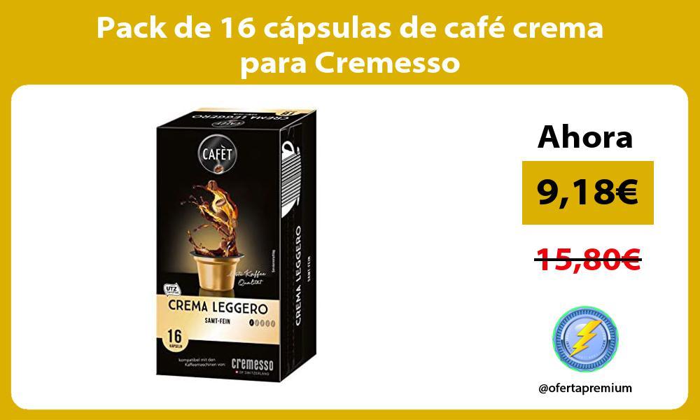 Pack de 16 cápsulas de café crema para Cremesso