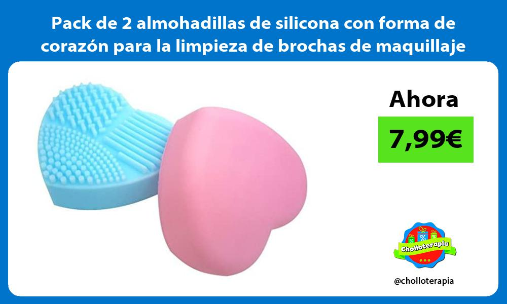 Pack de 2 almohadillas de silicona con forma de corazón para la limpieza de brochas de maquillaje