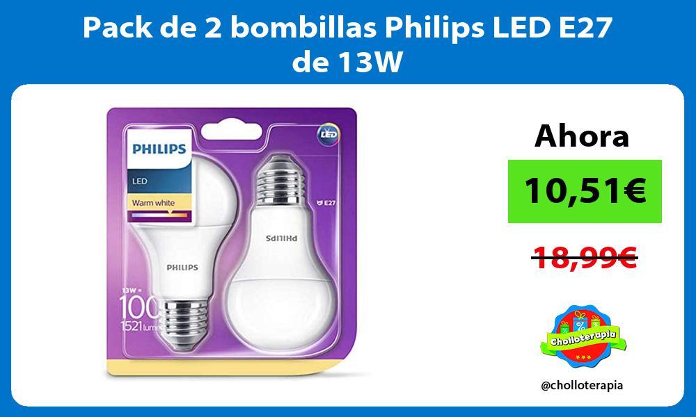 Pack de 2 bombillas Philips LED E27 de 13W