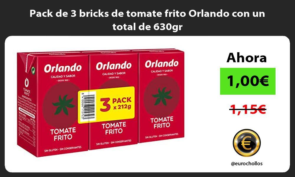 Pack de 3 bricks de tomate frito Orlando con un total de 630gr