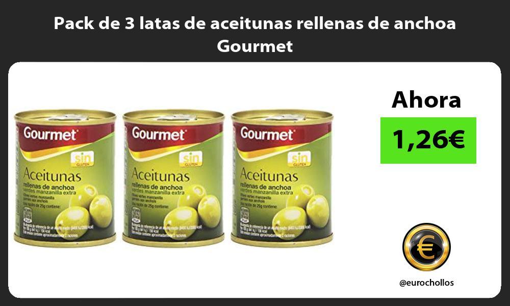 Pack de 3 latas de aceitunas rellenas de anchoa Gourmet