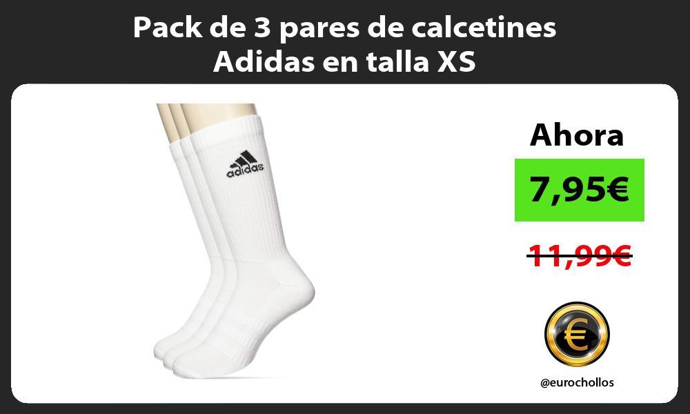 Pack de 3 pares de calcetines Adidas en talla XS