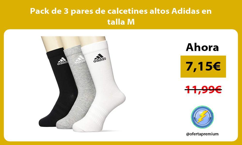 Pack de 3 pares de calcetines altos Adidas en talla M