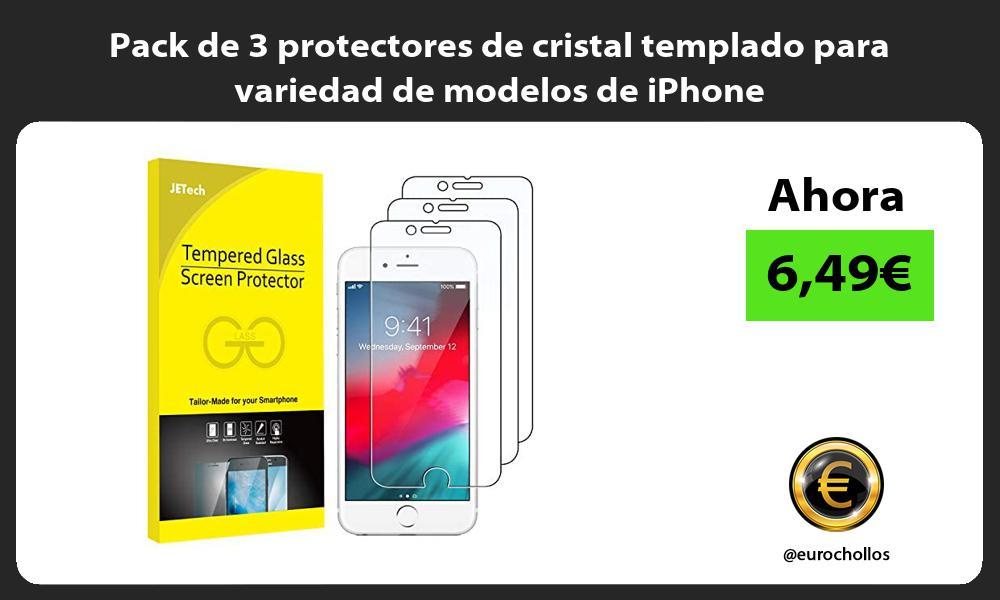 Pack de 3 protectores de cristal templado para variedad de modelos de iPhone