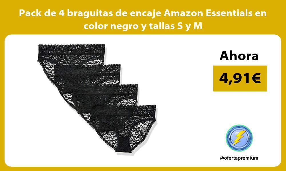 Pack de 4 braguitas de encaje Amazon Essentials en color negro y tallas S y M