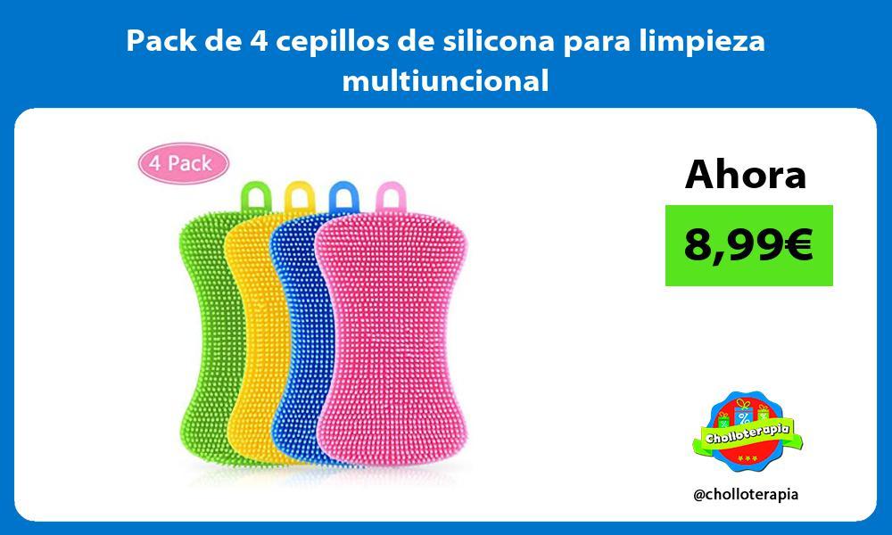 Pack de 4 cepillos de silicona para limpieza multiuncional