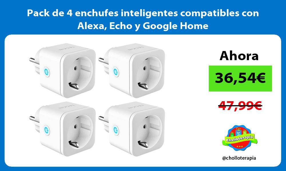 Pack de 4 enchufes inteligentes compatibles con Alexa Echo y Google Home