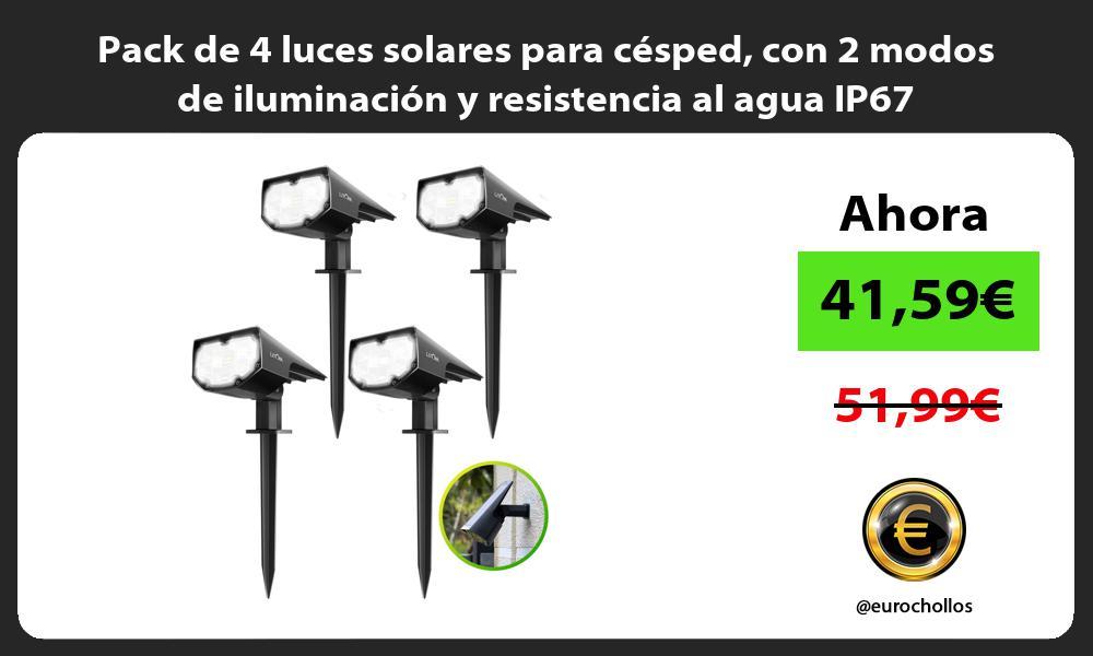 Pack de 4 luces solares para césped con 2 modos de iluminación y resistencia al agua IP67
