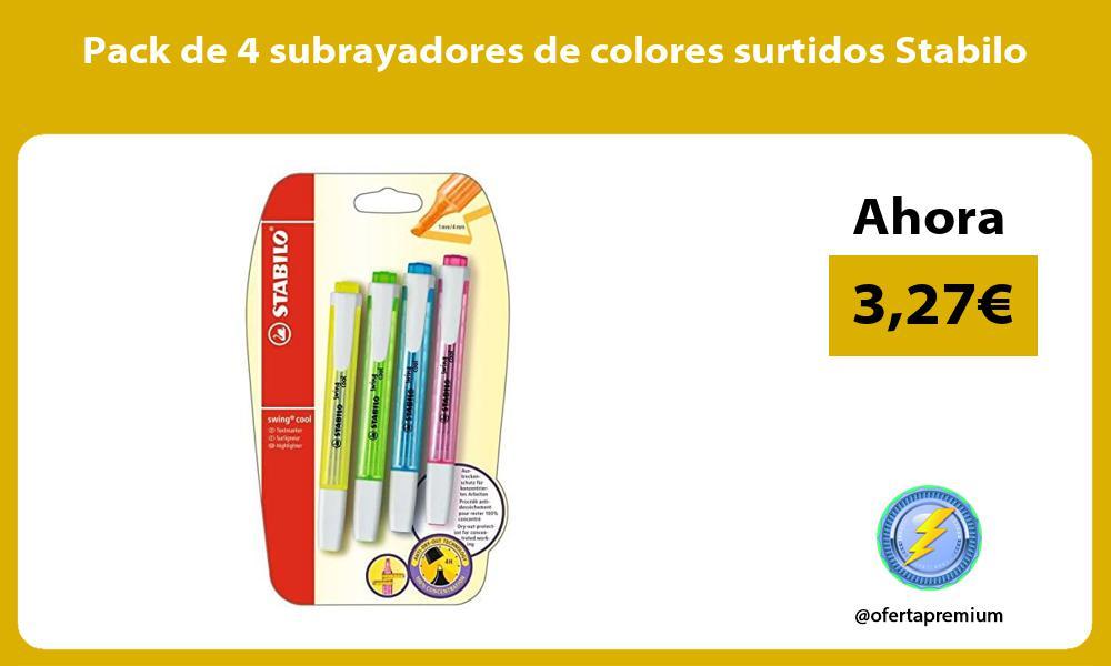 Pack de 4 subrayadores de colores surtidos Stabilo