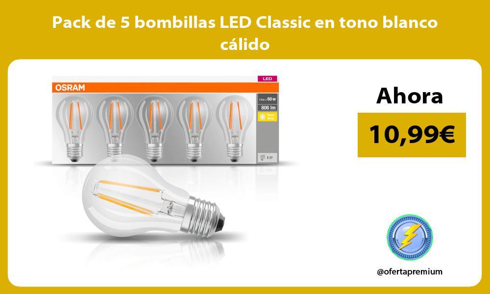 Pack de 5 bombillas LED Classic en tono blanco cálido