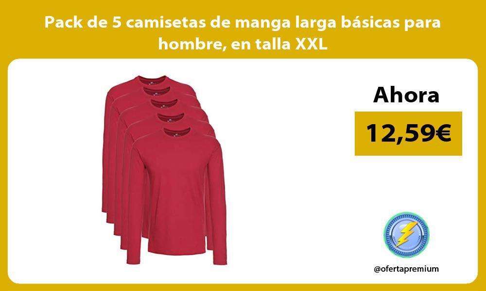 Pack de 5 camisetas de manga larga básicas para hombre en talla XXL