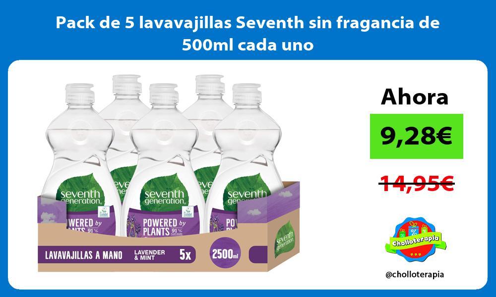 Pack de 5 lavavajillas Seventh sin fragancia de 500ml cada uno