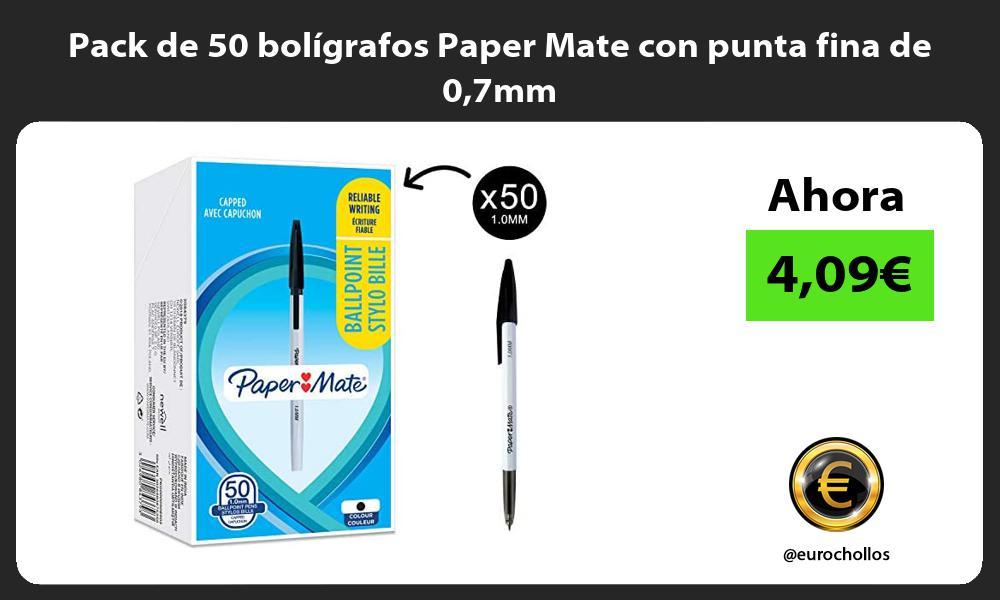 Pack de 50 bolígrafos Paper Mate con punta fina de 07mm