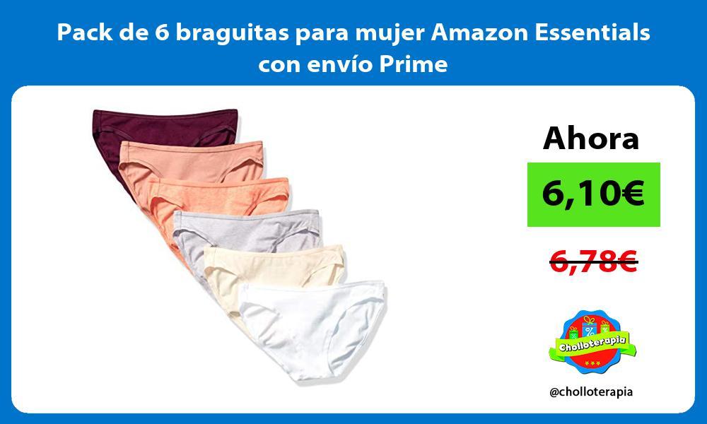 Pack de 6 braguitas para mujer Amazon Essentials con envío Prime