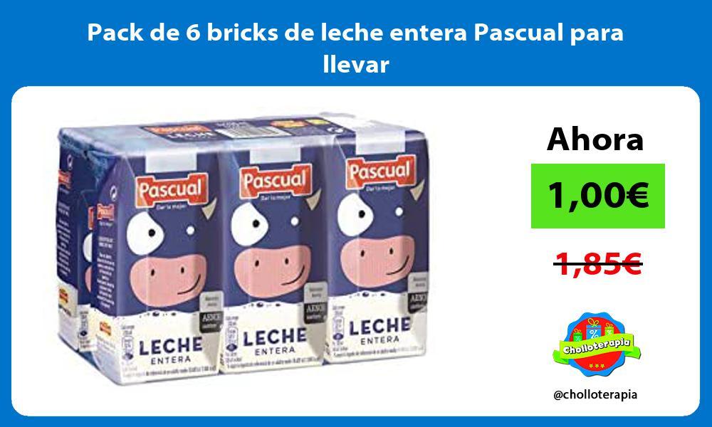 Pack de 6 bricks de leche entera Pascual para llevar