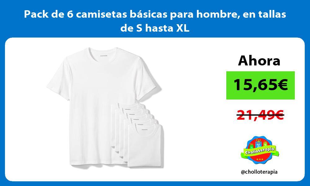 Pack de 6 camisetas básicas para hombre en tallas de S hasta XL
