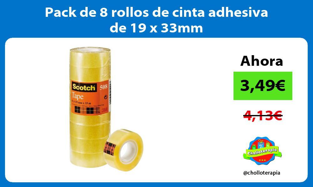 Pack de 8 rollos de cinta adhesiva de 19 x 33mm