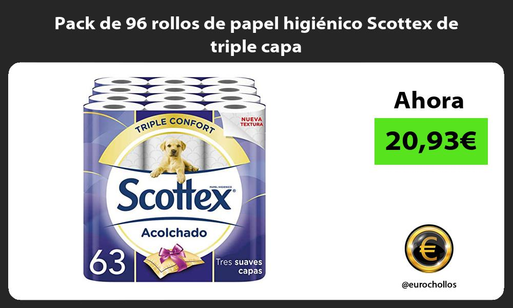 Pack de 96 rollos de papel higiénico Scottex de triple capa