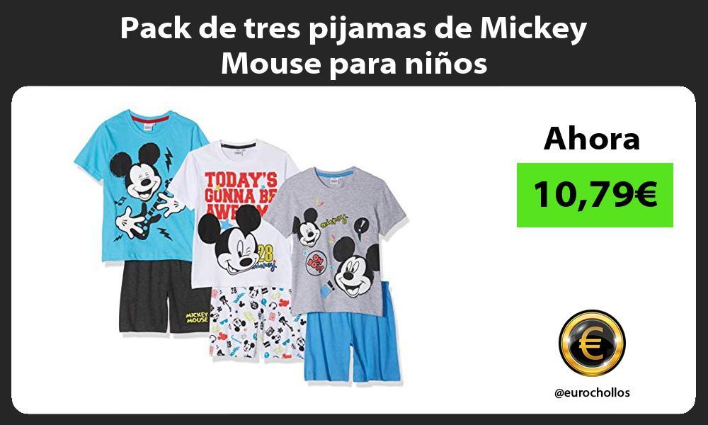 Pack de tres pijamas de Mickey Mouse para niños