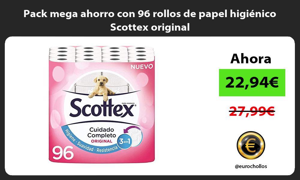 Pack mega ahorro con 96 rollos de papel higiénico Scottex original