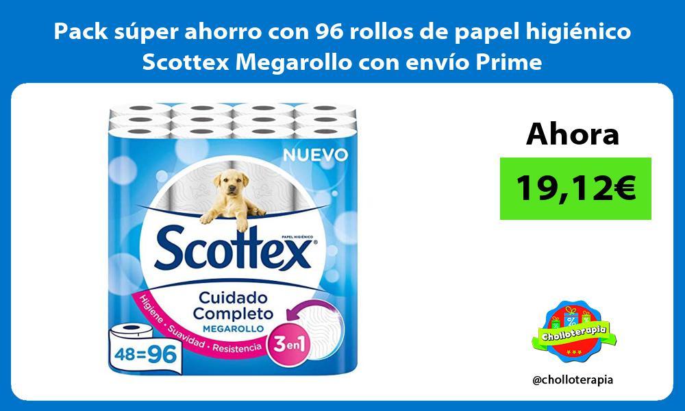Pack súper ahorro con 96 rollos de papel higiénico Scottex Megarollo con envío Prime