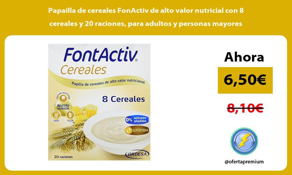 Papailla de cereales FonActiv de alto valor nutricial con 8 cereales y 20 raciones para adultos y personas mayores