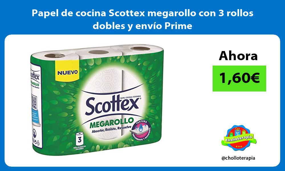 Papel de cocina Scottex megarollo con 3 rollos dobles y envío Prime