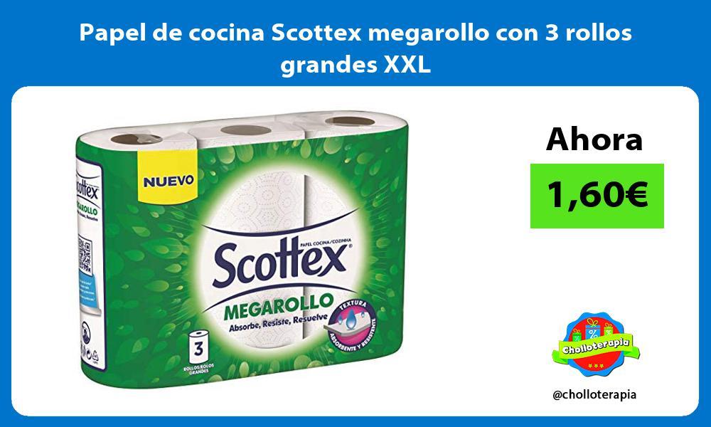 Papel de cocina Scottex megarollo con 3 rollos grandes XXL