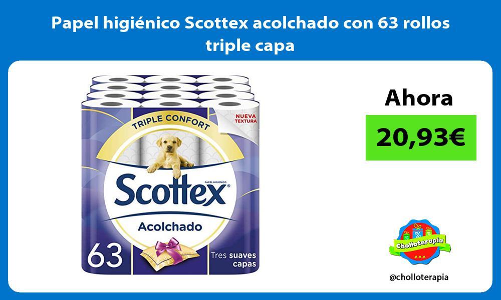 Papel higiénico Scottex acolchado con 63 rollos triple capa
