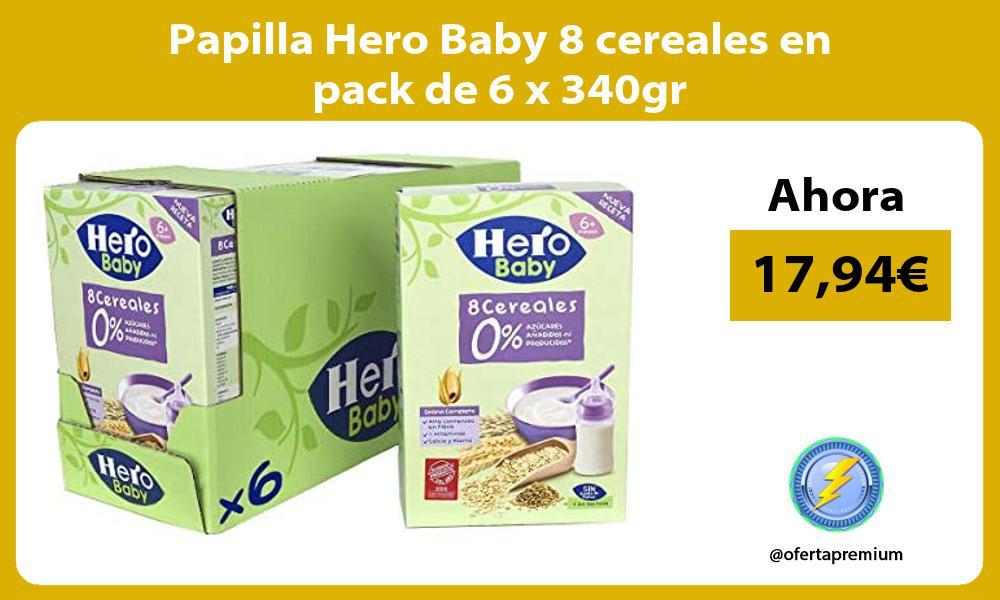 Papilla Hero Baby 8 cereales en pack de 6 x 340gr