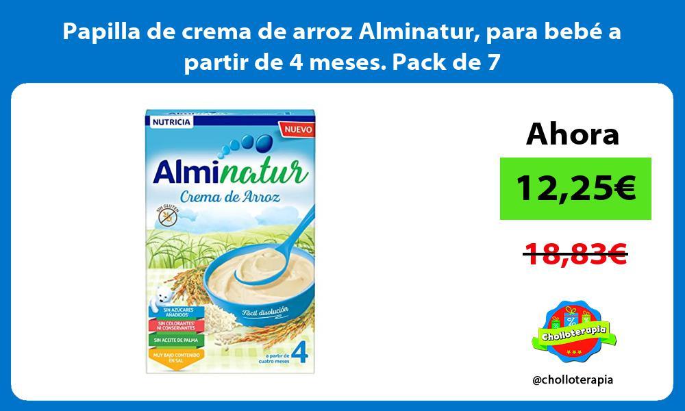 Papilla de crema de arroz Alminatur para bebé a partir de 4 meses Pack de 7