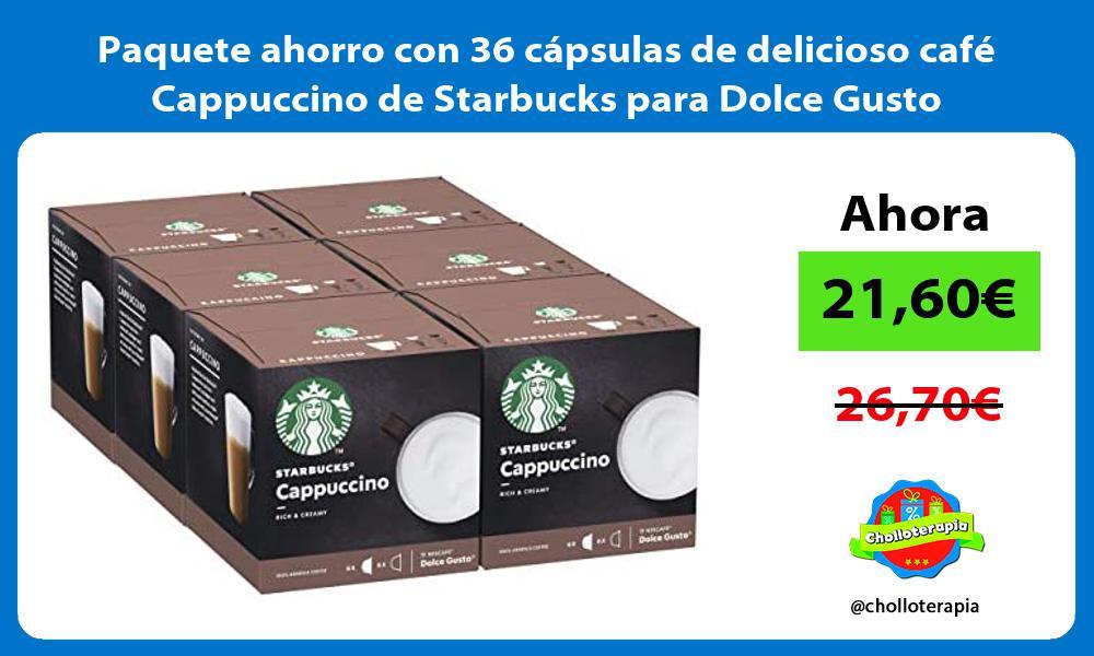 Paquete ahorro con 36 cápsulas de delicioso café Cappuccino de Starbucks para Dolce Gusto