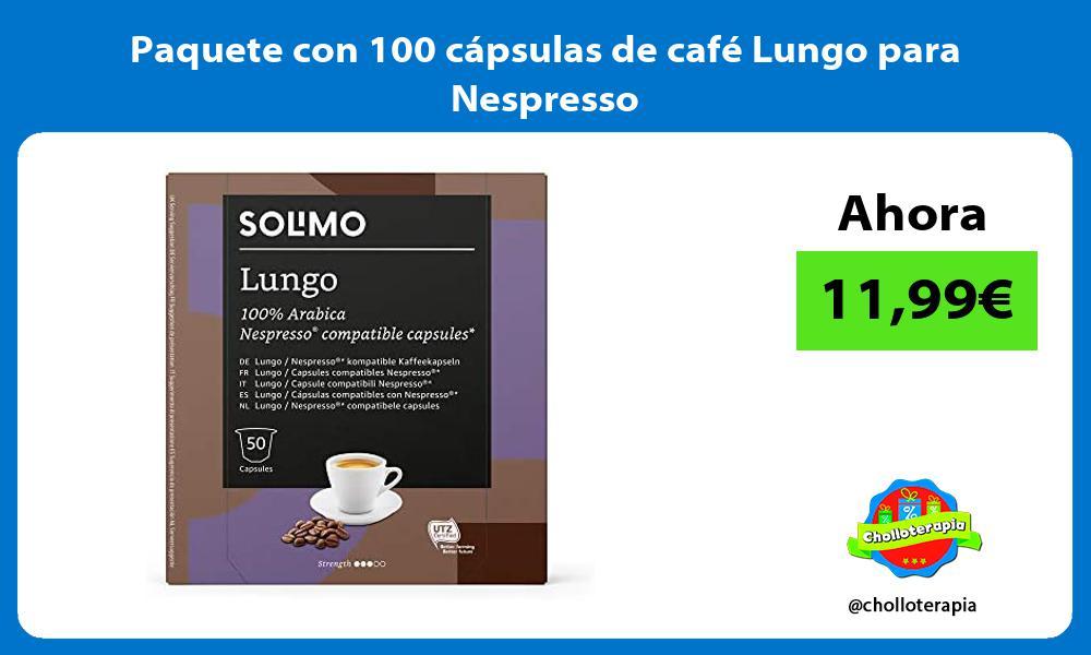 Paquete con 100 cápsulas de café Lungo para Nespresso