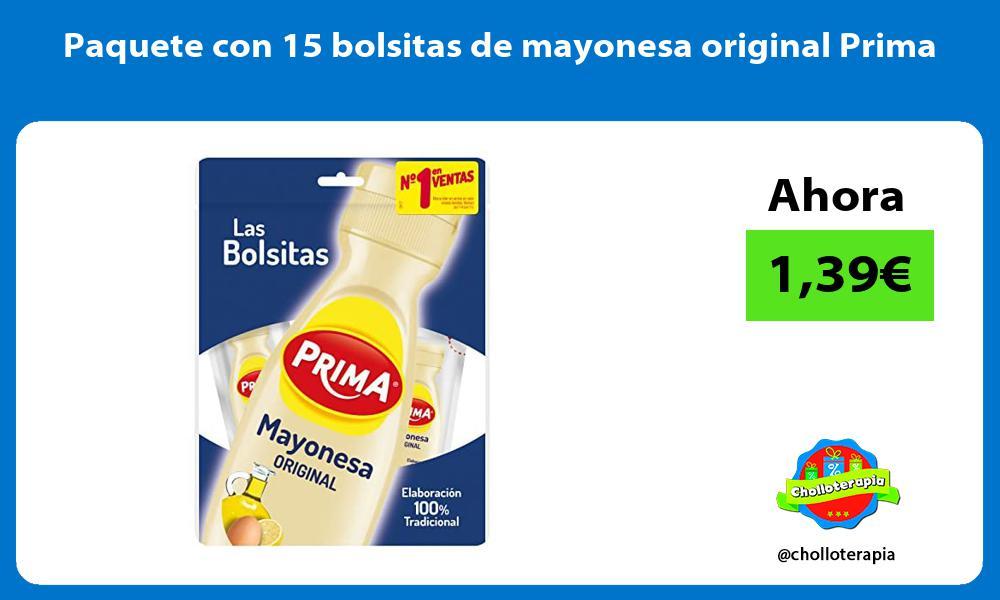 Paquete con 15 bolsitas de mayonesa original Prima