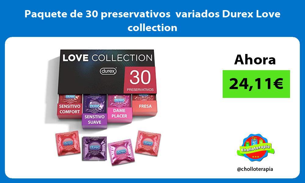 Paquete de 30 preservativos variados Durex Love collection