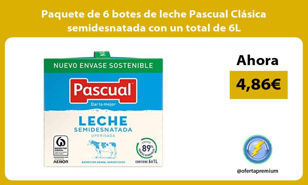 Paquete de 6 botes de leche Pascual Clásica semidesnatada con un total de 6L