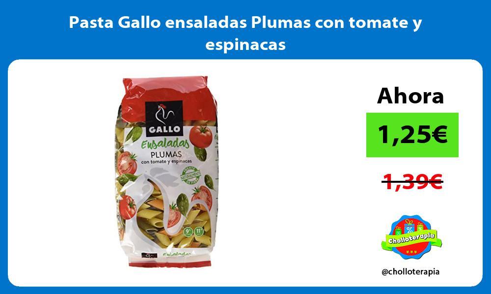 Pasta Gallo ensaladas Plumas con tomate y espinacas