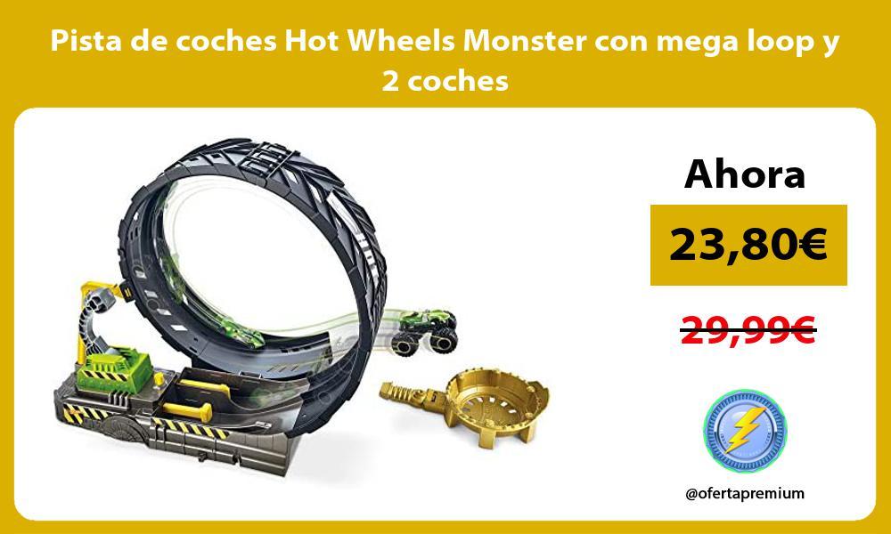 Pista de coches Hot Wheels Monster con mega loop y 2 coches