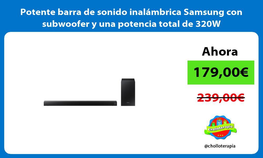 Potente barra de sonido inalámbrica Samsung con subwoofer y una potencia total de 320W