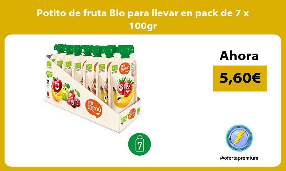 Potito de fruta Bio para llevar en pack de 7 x 100gr