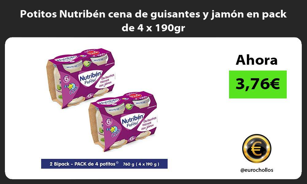 Potitos Nutribén cena de guisantes y jamón en pack de 4 x 190gr