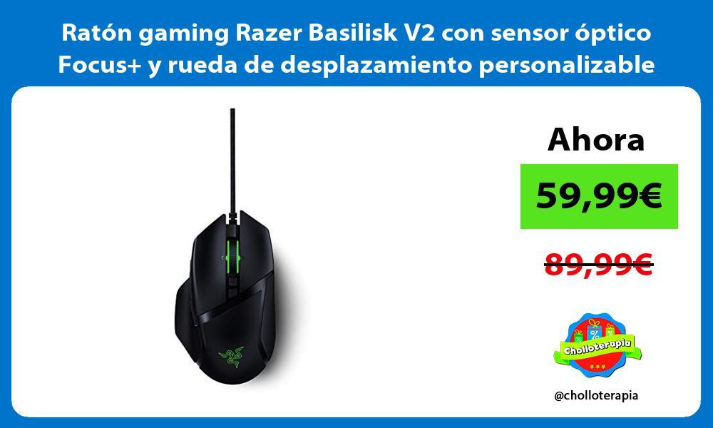 Ratón gaming Razer Basilisk V2 con sensor óptico Focus y rueda de desplazamiento personalizable