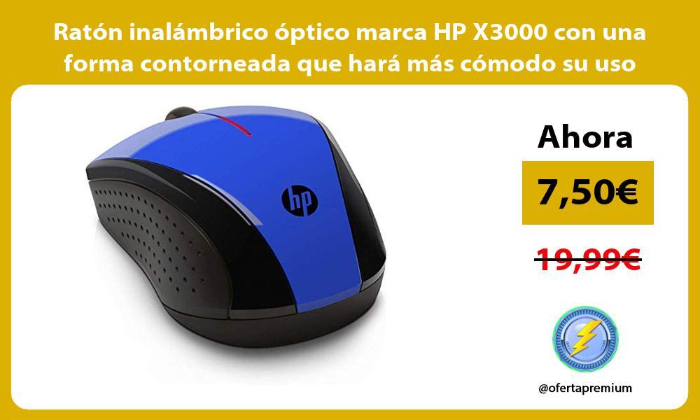 Ratón inalámbrico óptico marca HP X3000 con una forma contorneada que hará más cómodo su uso