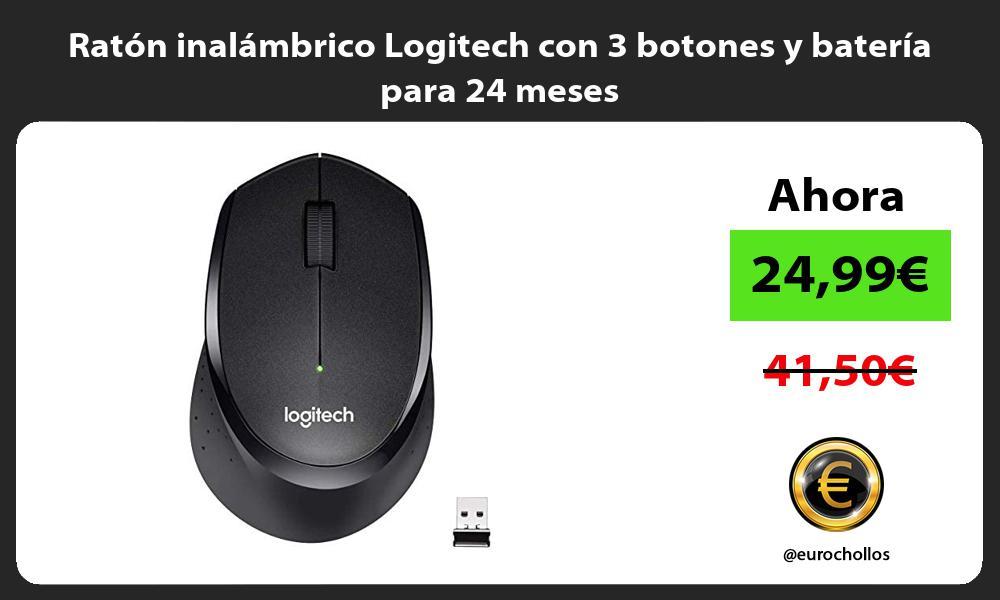 Ratón inalámbrico Logitech con 3 botones y batería para 24 meses