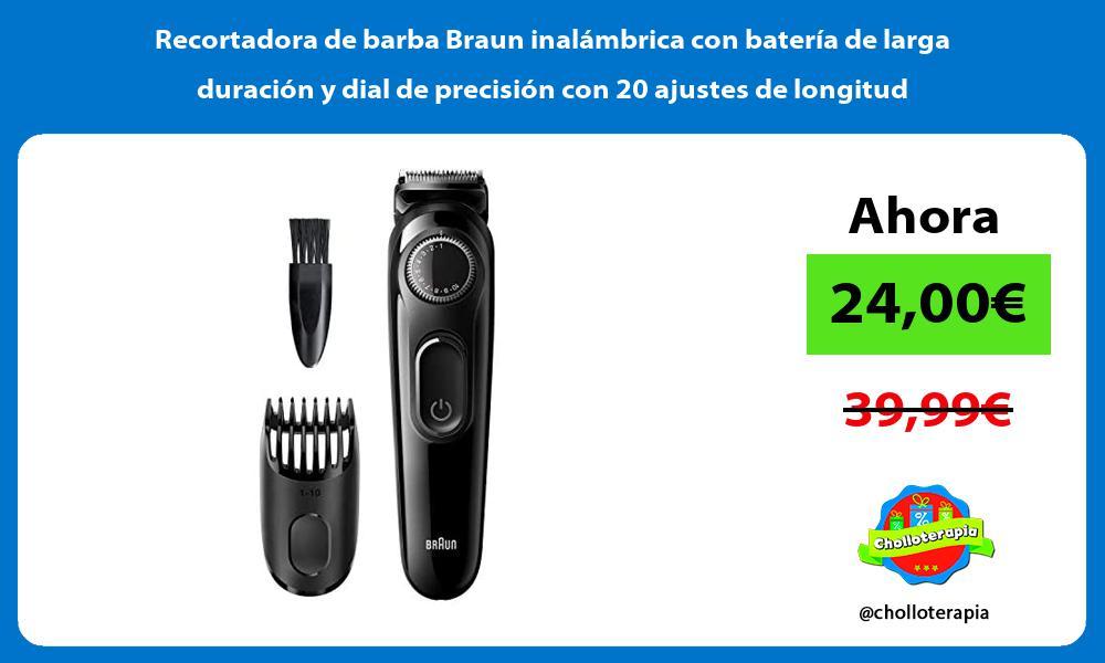 Recortadora de barba Braun inalámbrica con batería de larga duración y dial de precisión con 20 ajustes de longitud