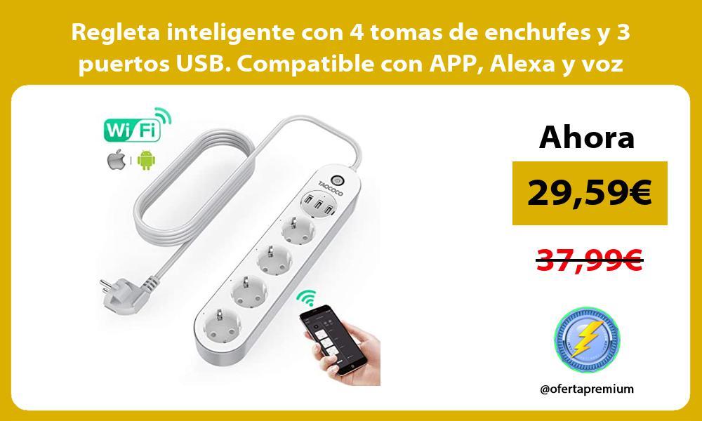 Regleta inteligente con 4 tomas de enchufes y 3 puertos USB Compatible con APP Alexa y voz