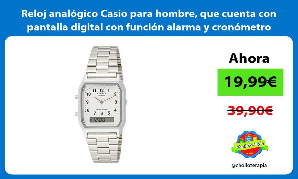 Reloj analógico Casio para hombre que cuenta con pantalla digital con función alarma y cronómetro